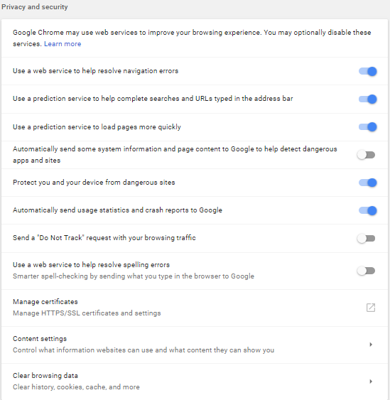 Google Chrome Cookie Settings